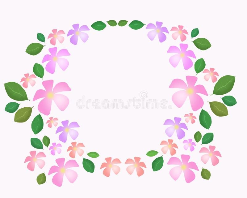 Flower and leaf frame, graphic design, raster cards decorated with space for Art of cards royalty free illustration