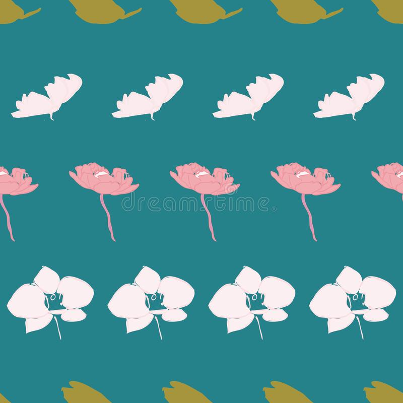 Flower leaf seamless repeat patternd design. Perfect for textile design vector illustration