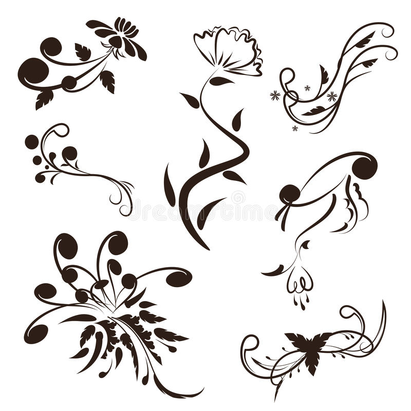 Flower and leaves vector swirl line design,floral swirl illustration set. Set of isolated flower and leaves vector swirl vector illustration