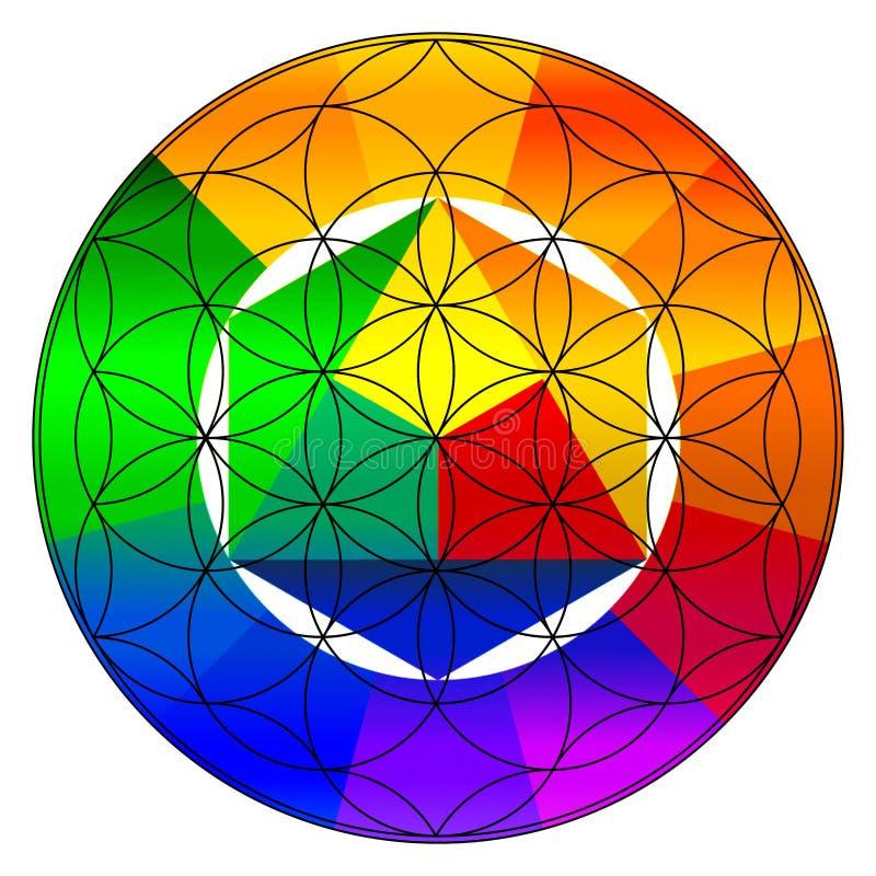Flower of life, buddhism chakra illustration. Gradient color wheel overlay vector illustration