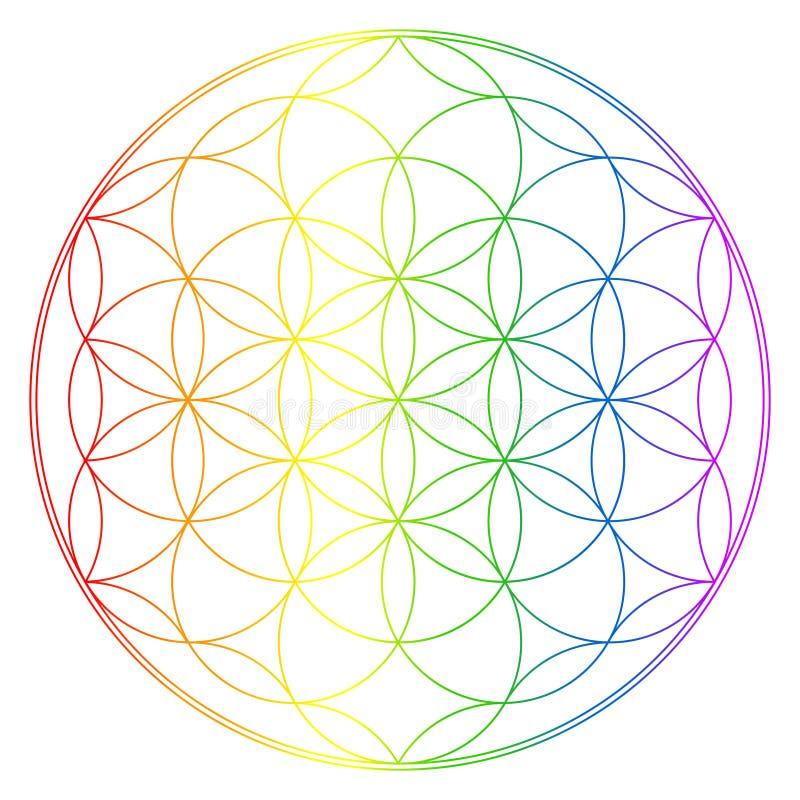 Flower of life, buddhism chakra illustration. Rainbow gradient overlay royalty free illustration