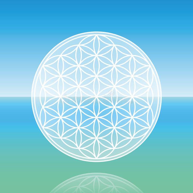 Flower Of Life Calm Ocean. Flower of Life - levitating over calm peaceful ocean vector illustration