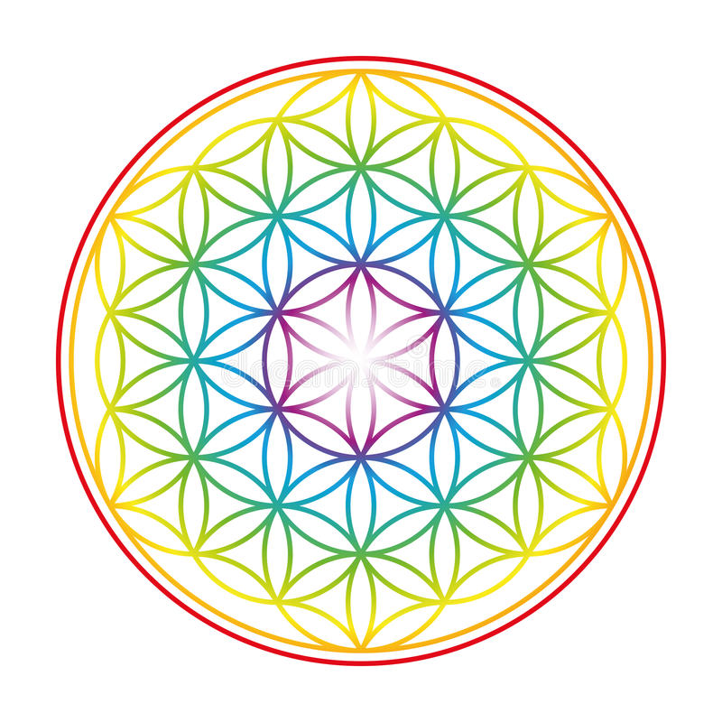 Flower Of Life Colorful Vibrant Glow. Flower of Life shown as an gently glowing rainbow colored symbol of harmony. Isolated vector illustration on white stock illustration