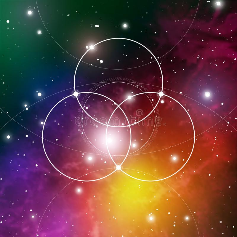 Flower of life - the interlocking circles ancient symbol on outer space background. Sacred geometry. The formula of nature. royalty free illustration