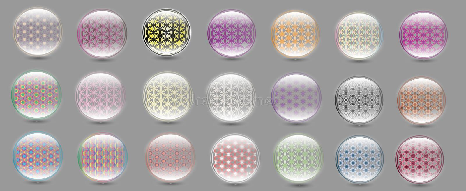 Flower of Life Multicolor Set Vector vector illustration