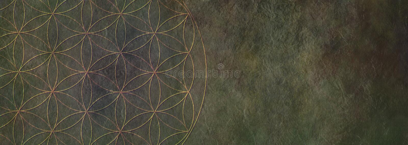Flower of Life Rustic Stone Background -. Circular flower of life symbol pattern on left side of a wide dark rustic stone effect background with copy space royalty free stock photos
