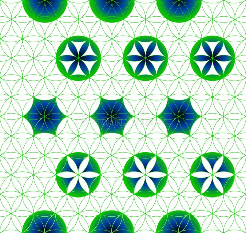 Flower of Life. Sacred geometry. Seamless pattern. Green and blue. stock illustration