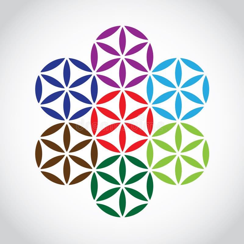 Flower of life symbol. Variations - illustration stock illustration