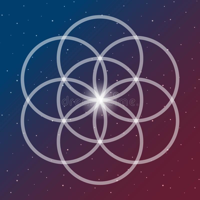 Flower of life symbol on a cosmic interlocking circles space blue and red sacred geometry psychedelic vector stock images