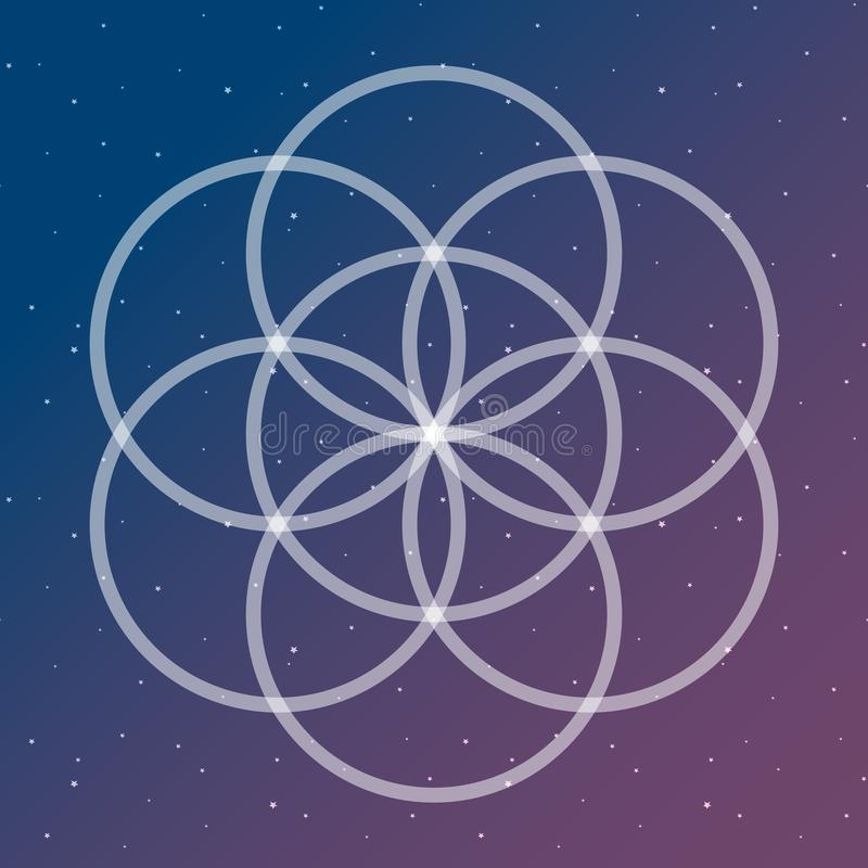 Flower of life symbol on a cosmic interlocking circles space sac. Red geometry psychedelic vector stock illustration