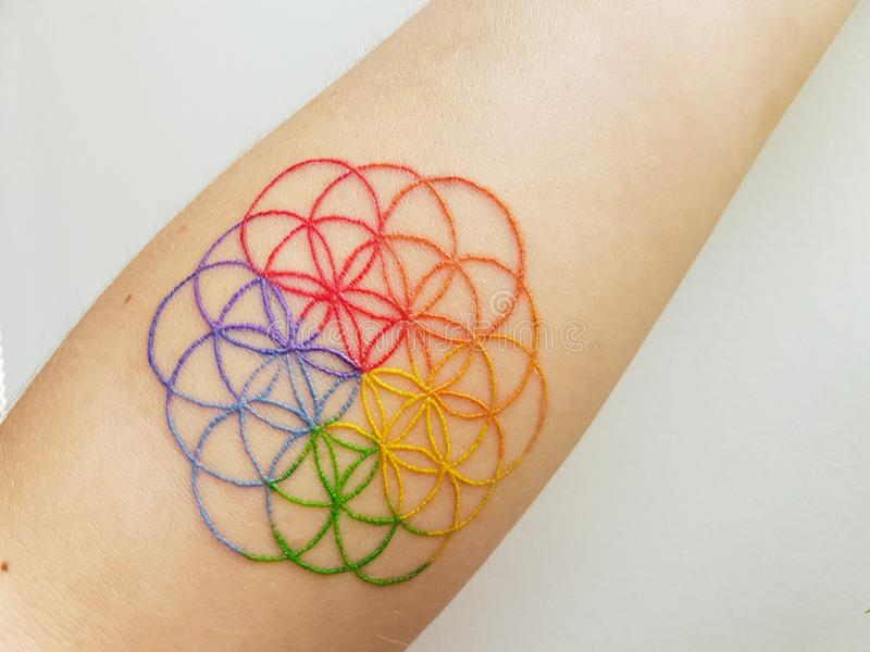Flower of life tattoo stock photos