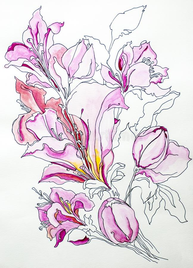 Free Flower Lilly Watercolor Deep Color Texture Blue White Gray Background Acrylics Paint Draw Paint Draw Isolate Stock Images - 130459894