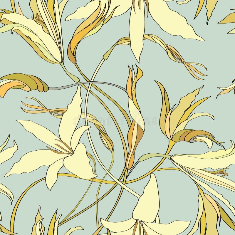 Flower Lily Tileable Wallpaper Stock Illustration Illustration of