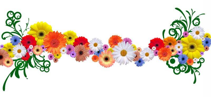 Flower line. Simple elegant flower line with graphic elements vector illustration