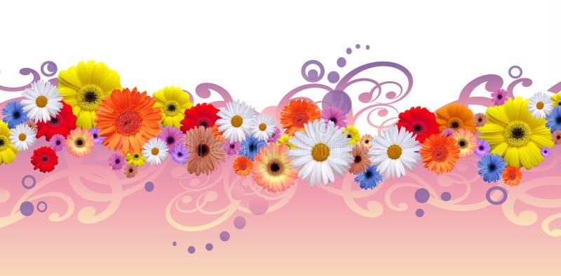 Flower line. Simple elegant flower line with graphic elements royalty free illustration