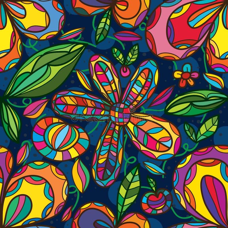 Flower line blue circle seamless pattern vector illustration