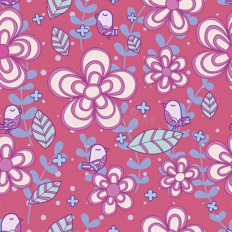 Flower line drawing bird pastel purple color seamless pattern vector illustration
