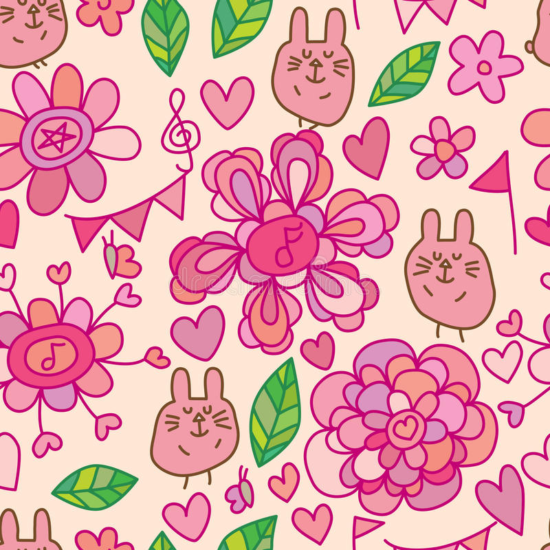 Flower line rabbit seamless pattern vector illustration