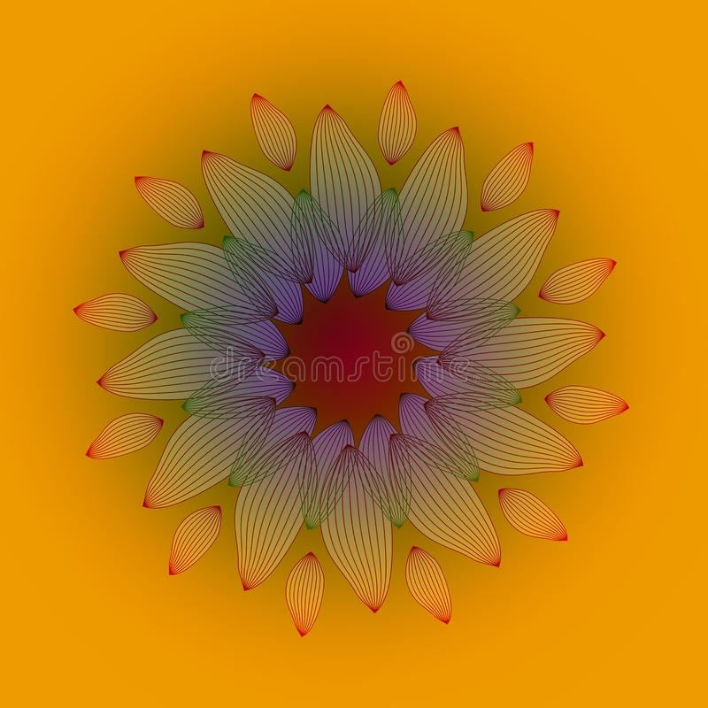 FLOWER LINES MANDALA. ABSTRACT ORANGE BACKGROUND. CENTRAL FLOWER IN ORANGE, RED, YELLOW AND PURPLE stock illustration