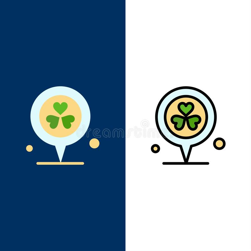Flower, Location, Pin, Heart  Icons. Flat and Line Filled Icon Set Vector Blue Background vector illustration
