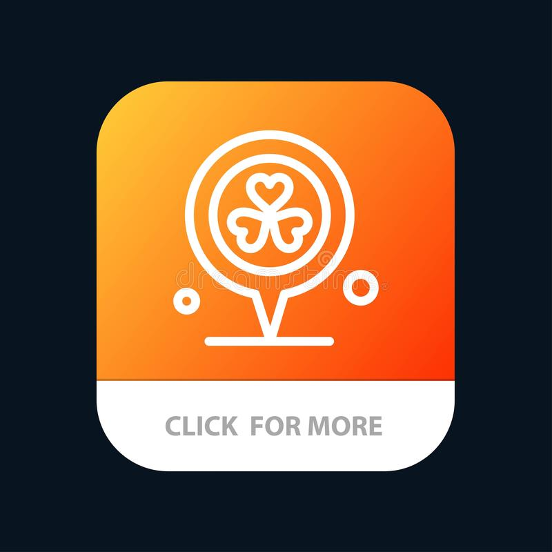 Flower, Location, Pin, Heart Mobile App Button. Android and IOS Line Version stock illustration