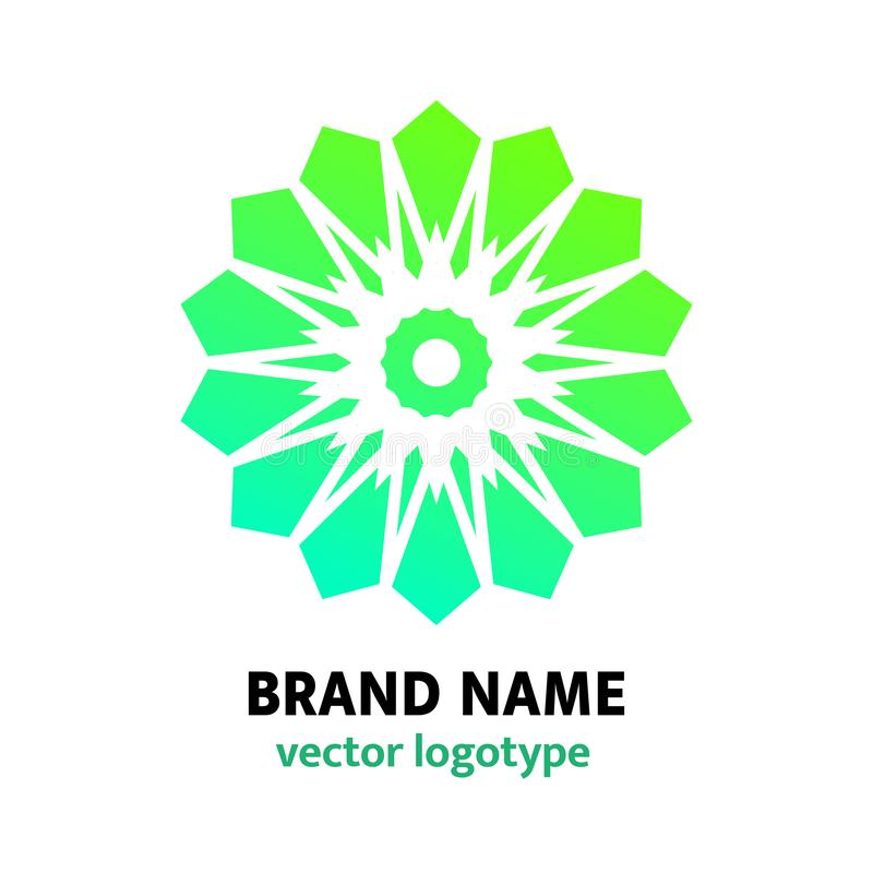 Flower logo design. Simple geometric logotype in arabic style. Company, brand name, mark. Emblem for bookstore, bookshop,publishin royalty free illustration
