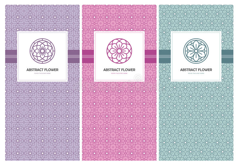 Flower logo and seamless pattern design template royalty free illustration