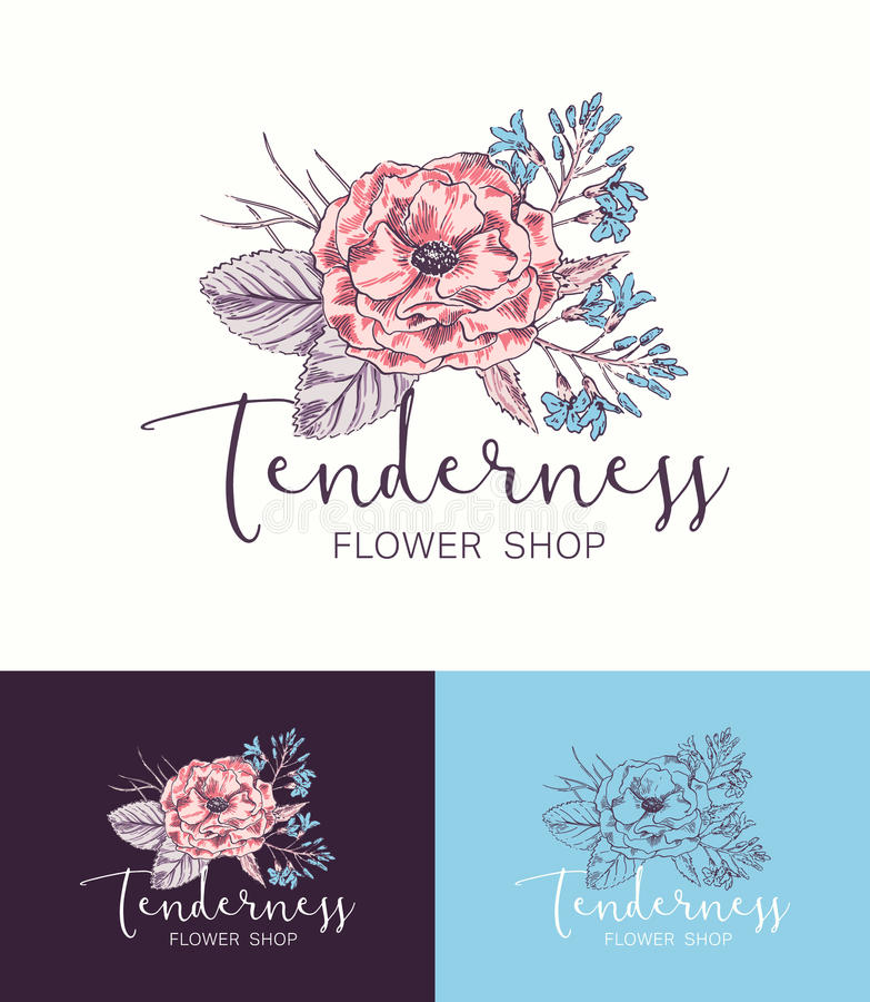 Flower Logo Shop vector illustration