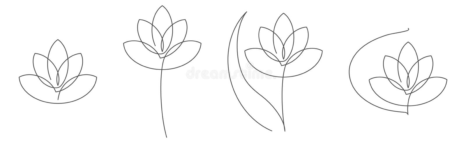 Flower lotus continuous line vector illustration set with editable stroke for floral design or logo. royalty free illustration