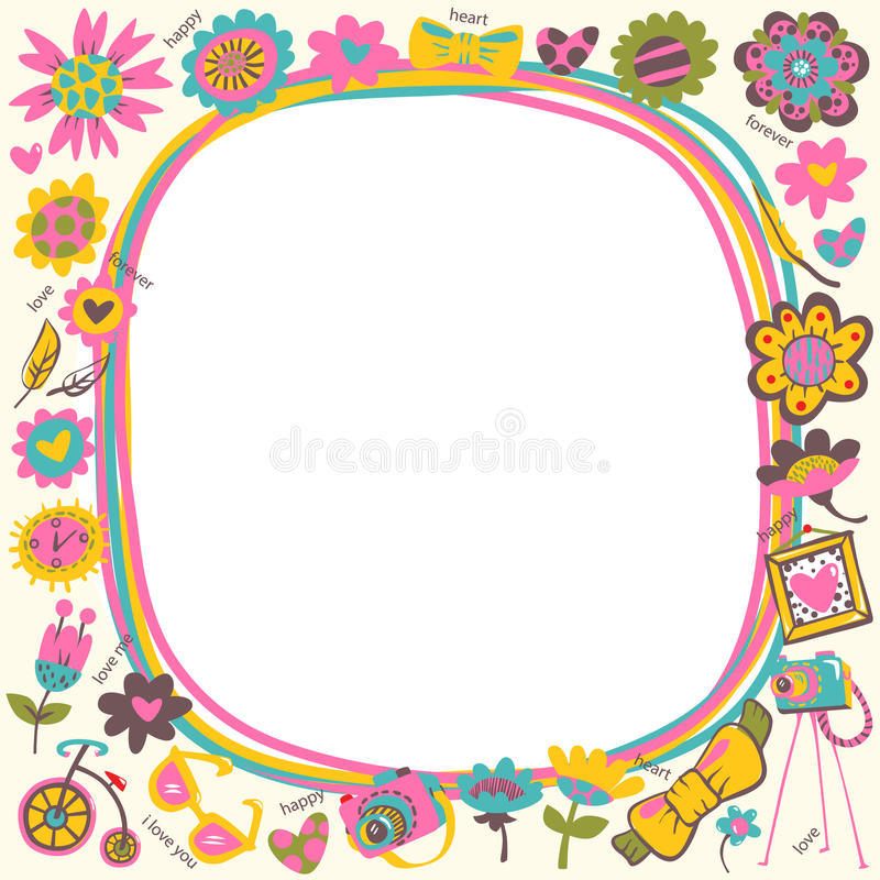 Flower Love cute frame with fashionable things. Light background royalty free illustration