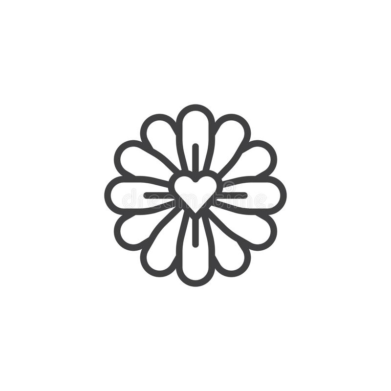 Flower with love heart line icon. Outline vector sign, linear style pictogram isolated on white. Symbol, logo illustration. Editable stroke royalty free illustration