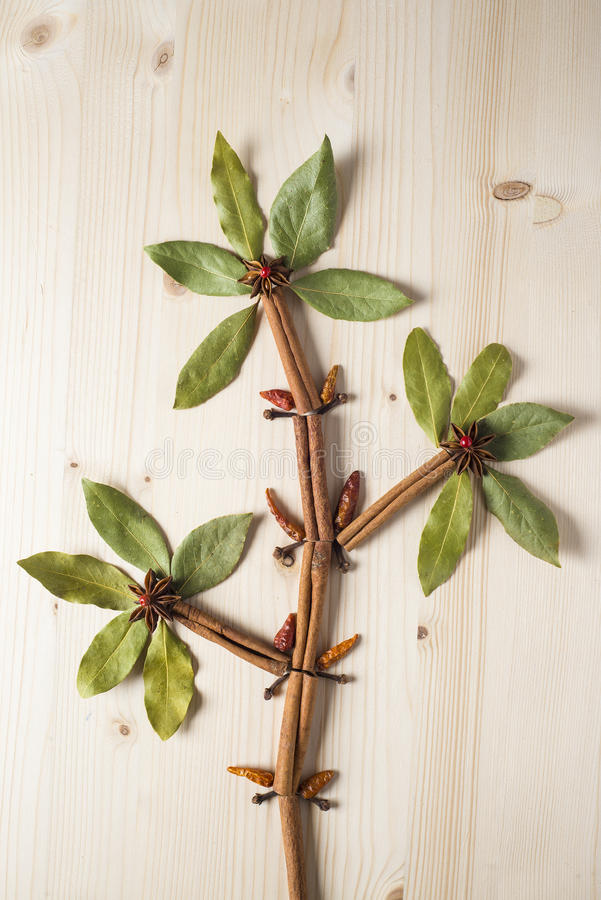 Flower made of herbs and spices stock images