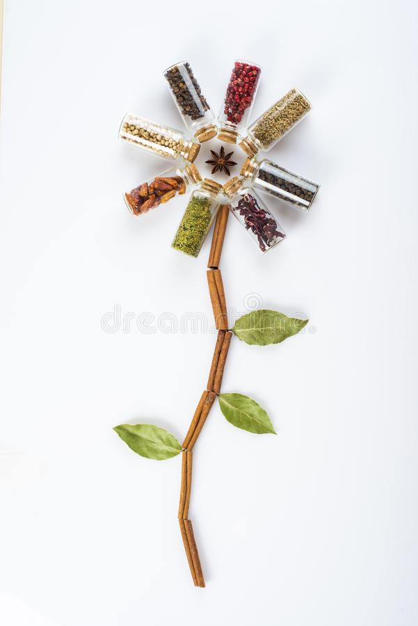 Flower made of spices and herbs stock photos