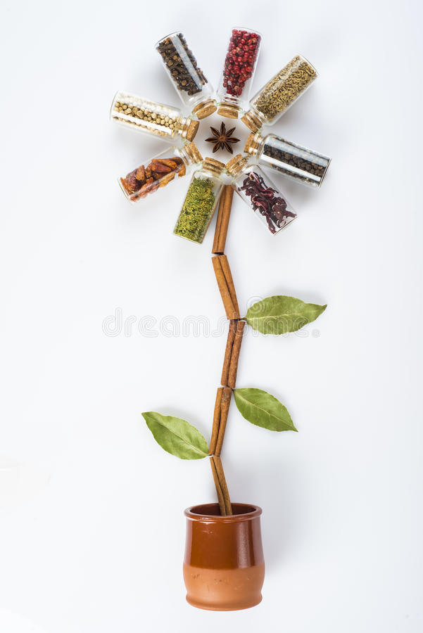 Flower made of spices and herbs stock photography