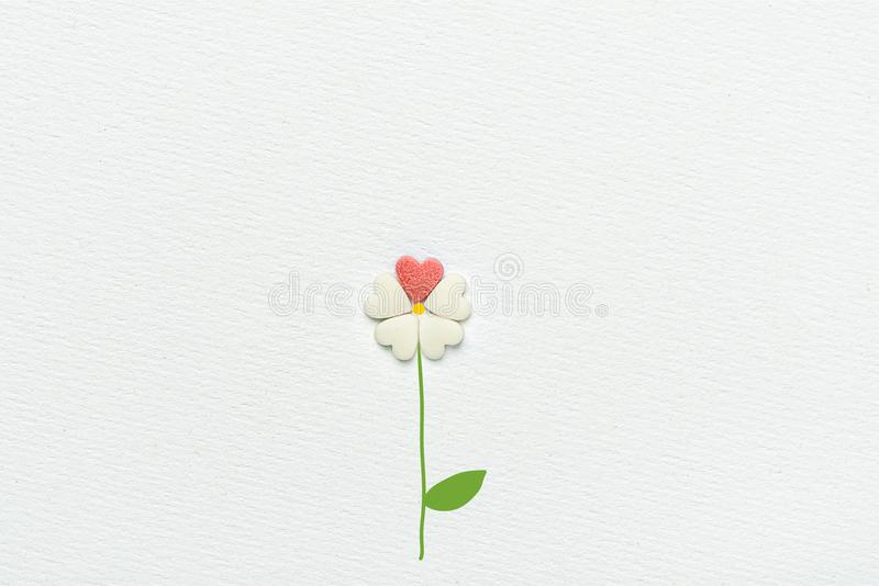 Flower Made of Sugar Candy Sprinkles Hearts Hand Drawn Stem and Leaves on White Watercolor Paper Background stock image