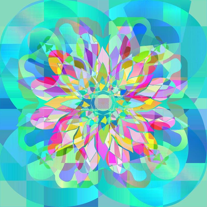 FLOWER MANDALA. COLORFUL IMAGE IN TURQUOISE, AQUAMARINE, FUCHSIA, ORANGE, YELLOW, RED royalty free stock photos