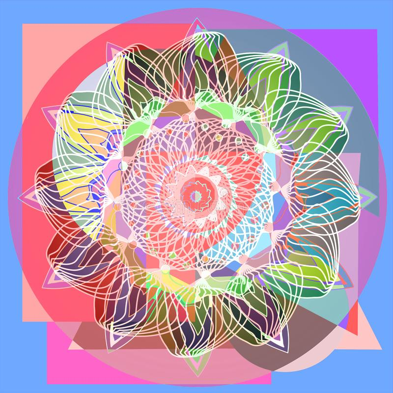 FLOWER MANDALA. LINEAR DESIGN. GEOMETRIC COLORFUL BACKGROUND. CENTRAL FLOWER IN GREEN, WHITE, BLUE, PURPLE, ORANGE, BROWN. FLOWER MANDALA. VINTAGE STYLE.LINEAR stock illustration