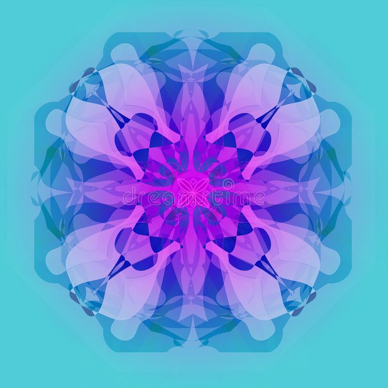 FLOWER MANDALA. PASTEL COLORS PALLET. PLAIN LIGHT BLUE BACKGROUND. FLORAL MANDALA. VINTAGE STYLE.PLAIN LIGHT BLUE BACKGROUND. CENTRAL FLOWER IN PINK, BLUE stock illustration