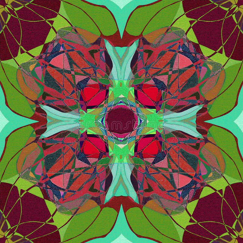 FLOWER MANDALA. TIFFANY STYLE.ABSTRACT BROWN AND GREEN BACKGROUND stock illustration