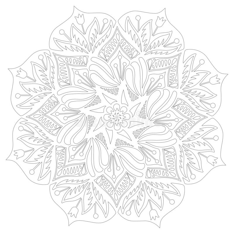 Flower mandala vector illustration. Adult coloring page. Circular abstract floral oriental pattern royalty free illustration