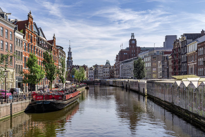 Flower market in Amsterdam royalty free stock photography