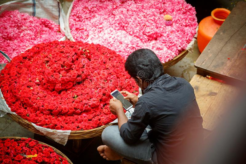 Flower market in Bangalore. India royalty free stock photos