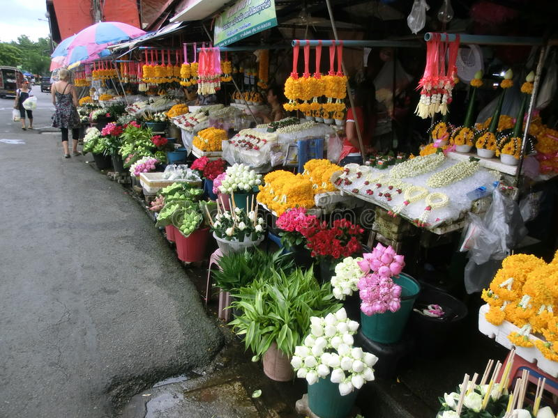 Flower market in Chiang Mai, Thailand royalty free stock photo
