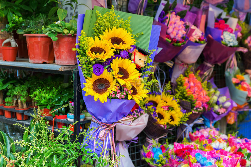 Flower market in Hong Kong royalty free stock photos
