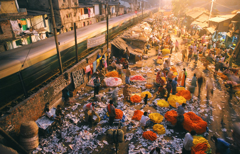 Flower market, India royalty free stock photography