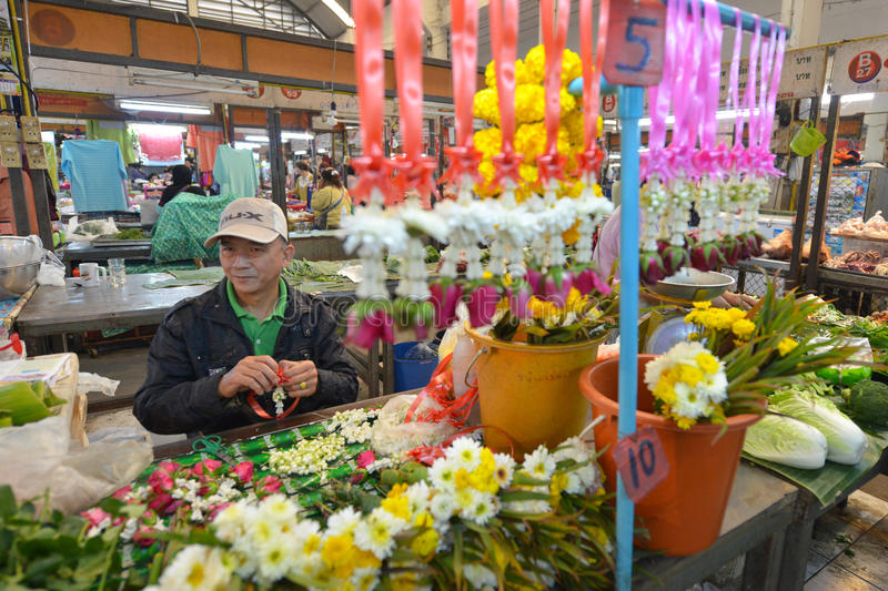 Flower market, Lampang, Thailand stock photography