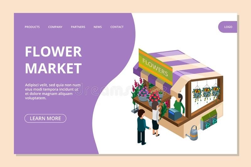 Flower market landing page template. Isometric flowers, counter, people vector illustration. Bouquet service and florist store, seller and customer stock illustration