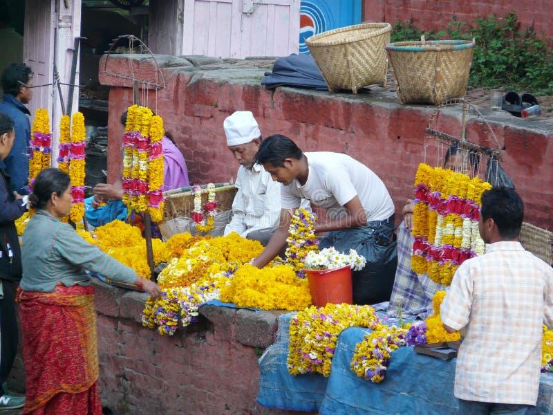 Flower market in Nepal royalty free stock photos