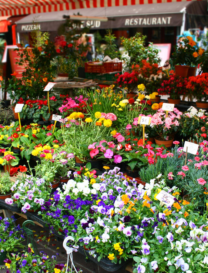 Flower market in Nice stock photo