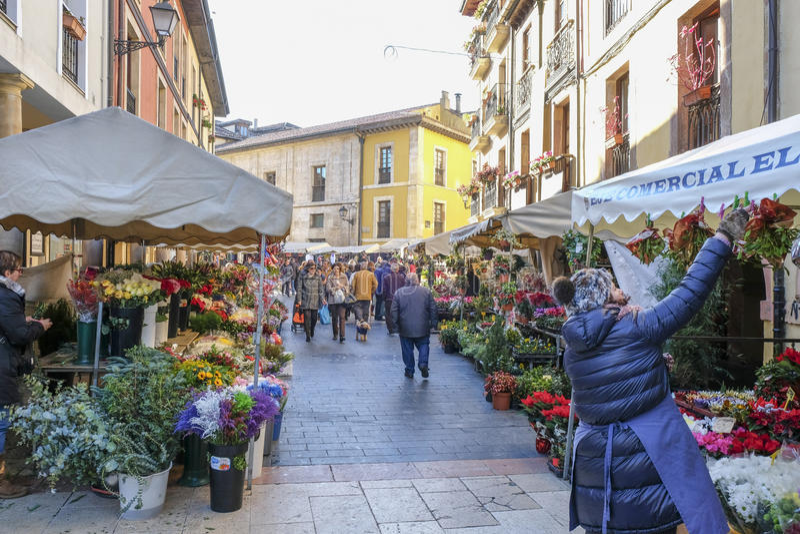 Flower market in Oviedo, Spain. stock images